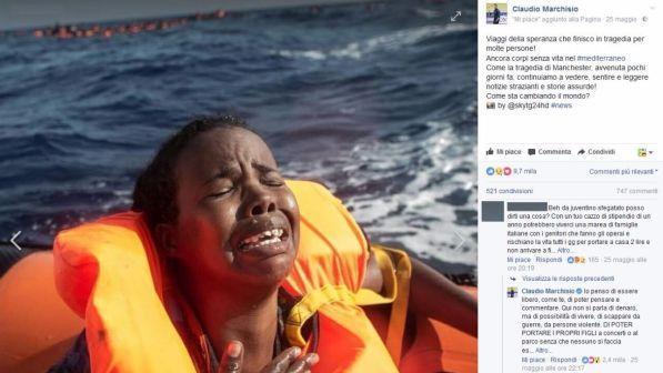 Marchisio, post sul dramma migranti scatena rabbia e solidarietà